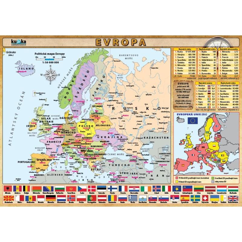 Evropa - mapka (oboustranné lamino, A4)