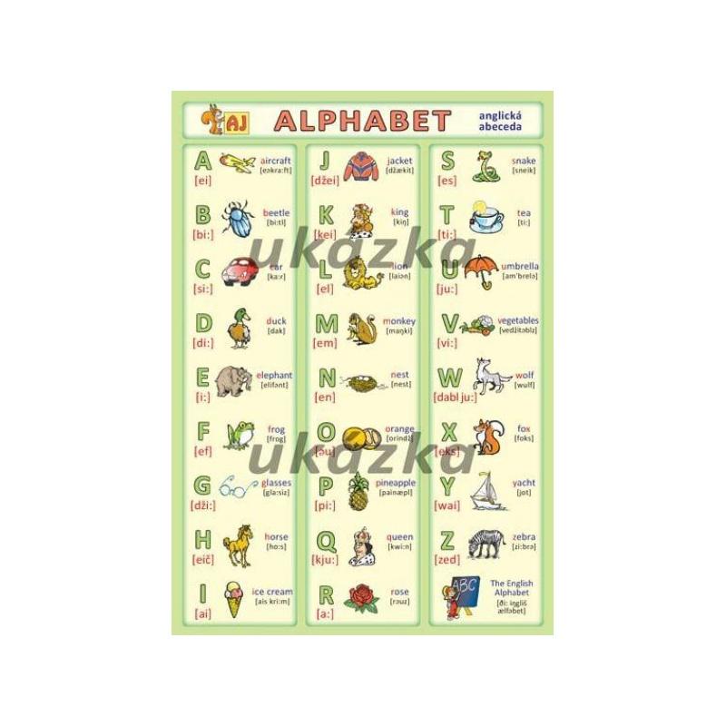 Anglická abeceda - Alphabet (oboustranná tabulka, A5)